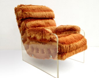 Free Shipping Mid Century Spaceage Faux Fur Lucite Lounge Chair