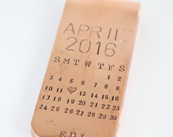 Christmas Gift for Dad - Personalized Calendar Copper or Sterling Silver Money Clip For Men - Hand Stamped Special Date Money Holder
