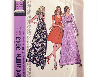 Maxi Dress Pattern 1970s Sewing Pattern / Midriff Interest / Raised Waist / McCall's 3643 / Size 10