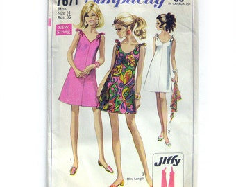 1968 Vintage Sewing Pattern - Jiffy Mini Dress with Tie Shoulders  / Simplicity 7671 / Size 14