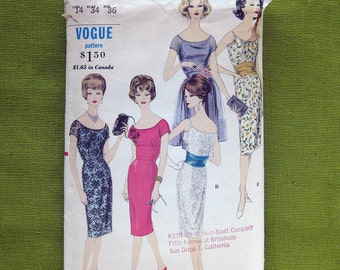 1960s Mad Men Era Dress with Apron Cummerbund Vogue 4108 Vintage Vogue Sewing Pattern / Size 14 Bust 34