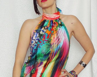 Kaleidoscope Halter Top, Womens Bright Multi Colored Halter Neck Style, Cotton Summer Top, Made in Australia
