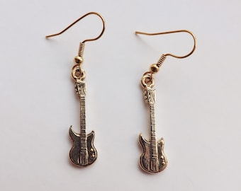 Electric Guitar Charm Earrings gold pewter charms lead-free USA-made dangle