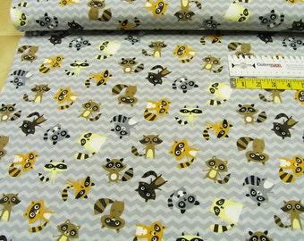 Jersey •  raccoons • light gray • Cotton Jersey kids Knit Fabric 002536