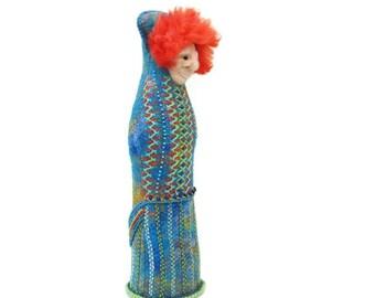 OOAK Art Doll - Embroidered Textile Figurine - blue