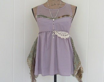 Boho Tunic Top Silky Sleeveless Dusty Lilac with Mesh Lace Vintage Crocheted Lace & Paisley Print Size S - M