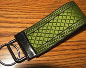 Key Fob Fingerlet,Embroiderd Trim,Olive Green and Black