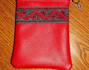 Red & Charcoal LEATHER Zip Wallet w/Embroidered Trim
