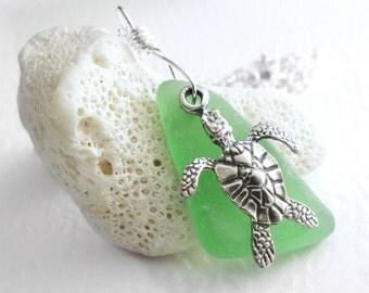 Silver Sea Turtle Necklace, Ocean Animal Jewelry, Green Sea Glass Pendant