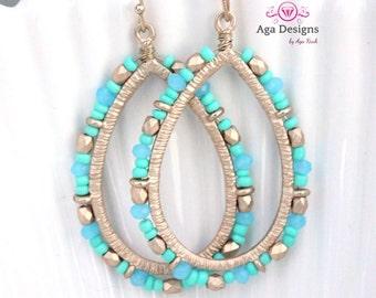 Oval, teardrop earrings  - long, light weight earrings  pick your color