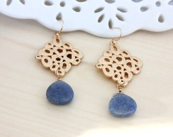 SALE * Blue Chalcedony earrings - rich color -gold accent frame