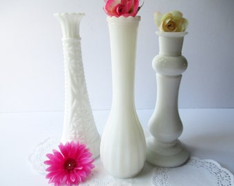 Milk Glass Bud Vase Collection of Three - Vintage Weddings Bridal Tea Parties