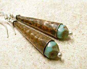 Long Copper Earrings, Metalsmith Earrings, Turquoise Picasso Glass Cone Earrings, Guinevere Earrings, Copper Jewelry, Metalwork Jewelry