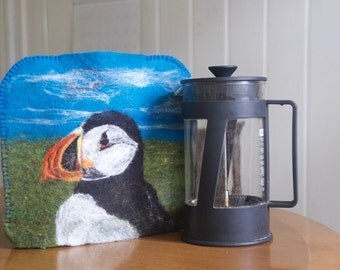 Coffee Press Pot French Press Cozy Cover Needle Felted Happy Puffin