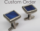 Blue Depths - Stained Glass Cuff Links (8 Pairs)