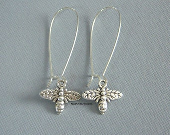 Bee Earrings/Long Dangle Bee Earrings/Silver Bee Long Earrings/Nature Collection
