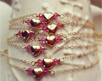 Bridesmaid gift, Gold Heart Bracelet, Bridesmaid jewelry, 8 heart bracelets, bridal party gift, heart jewelry, wedding jewelry