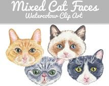 Cat Clip Art - Hand Drawn Clip Art, Original Clipart, Tabby Cat, Tuxedo Cat, Ragdoll Cat, Watercolor Illustration
