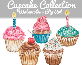 Cupcake Clip Art - Watercolor Clipart, Food Watercolour, Craft Supplies, Digital Clip Art, Food Illustration, Hand Drawn