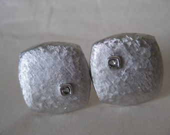 Silver Texture Rhinestone Cuff Links Vintage Clear Swank