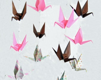 "READY TO SHIP - Origami Crane Hanging Mobile - ""Girl"" Themed Cranes - Home Decor - Kids Room Decor"