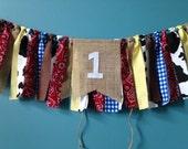 Western High chair banner ~Birthday Banner ~cowboy cowgirl ~giddy up Rag Tie Garland Banner ~cake smash~Rag Tie Banner ~Rag Banner ~Cowboy