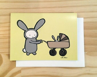 Greeting Card, Baby Bunny, Gender Neutral, Yellow