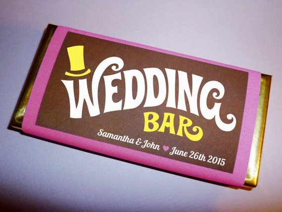 Wonka Bar Wedding Favor Printable Invitation Save The Date Candy Favors Personalized Wrapper Template PDF