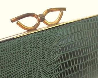 Vintage 1950's Green Faux Alligator / Lizard Skin Eyeglass Case