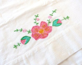 Vintage Painted and Embroidered Pink Dogwood Flowers on Cotton Pillowcase with Pink and White Lace Edging,Cutter Linens