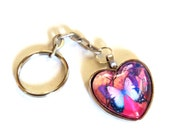 Colorful Butterfly Heart Key Ring, Key Chain, Silver Pink Blue Purple Glass Cab, Butterfly  Lover Gift, Accessories, Gift for Her