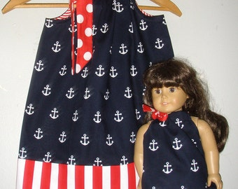 Fourth of July dress, matching dress, pillowcase dress, red white blue dress, matching doll dress, sizes 6, 9, 12, 18 month, 2 t to size 12