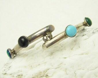 Hinged Sterling Tube Bracelet Gemstone Vintage Jewelry B7007