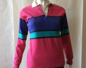 Vintage women's rugby shirt, bold striped in fuschia, violet, turquoise, and black with white collar, long sleeve, small / 4 - 6