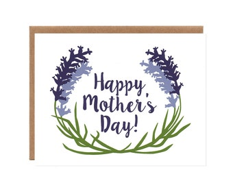 Lavender Mother's Day Card -- Floral, Screenprinted Card for Mom