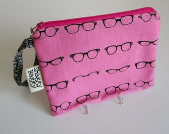 Wristlet Clutch,  Zipper Pouch, School Supplies, Teens, Women, glasses sunglasses