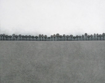 Intermission 2 - Contemporary Minimalist Winter Landscape Painting - Archival 8x10 Art Print, Horizontal Format - by Natasha Newton