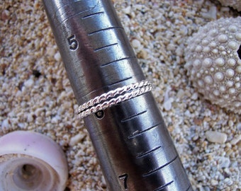 Sterling Silver Bands, Silver Rings, Stacking Rings, Twist Rings, Rope Rings