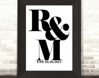 Custom Couples Monogram Letters Initial Print