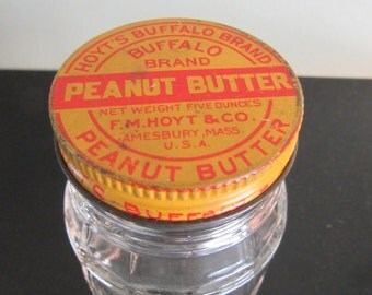 Hoyts Peanut butter jar, vintage jar, advertising jar, advertising, vintage advertising, peanut butter jar, metal, glass, Hazel Atlas
