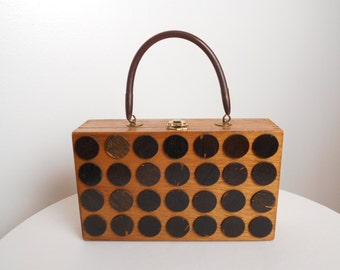 Vintage Cigar Box Purse MOD Geometric ART Black Circles Purse
