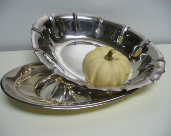 2 Silver Oval Serving Dishes