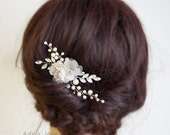 Gold Bridal Headpieces, Silk Flowers Hair Clips, Rhinestone Pearls Wedding Hair Pieces,Gold Bridal Hair pins, Wedding Hair Clips 1601231