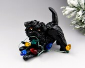 Affenpinscher Christmas Ornament Figurine Lights Porcelain