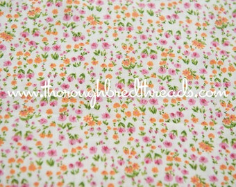 Adorable Mod Floral- Vintage Fabric Juvenile Whimsical New Old Stock 70s