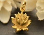 Textured Blooming Lotus Necklace - 24k Gold Plated Sterling Silver Vermeil Medium Renge Flower Feng Shui Lian Hua Charm - Insurance Included