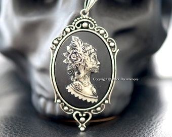Miss Gypsy Gothic Necklace - Boho  Bohemian Woman Girl Cameo - 2 Setting Color - Insurance Included