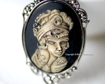 Miss Penelope Gothic Necklace - Pinup Tattoo Girl Cameo -  2 Setting Colors - Insurance Included