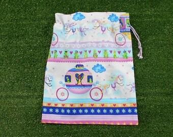 Small drawstring princess bag for gifts, trinkets, toys, treasures, girls small gift bag