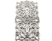 Extra Large XL Antiqued Sterling Silver Plated Rectangular Filigree - 1 Piece